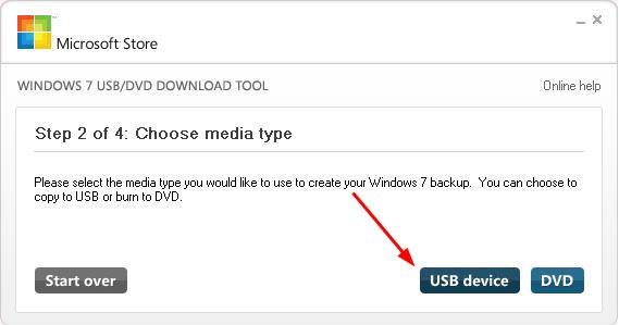 Выбор USB device Windows 7 USB/DVD