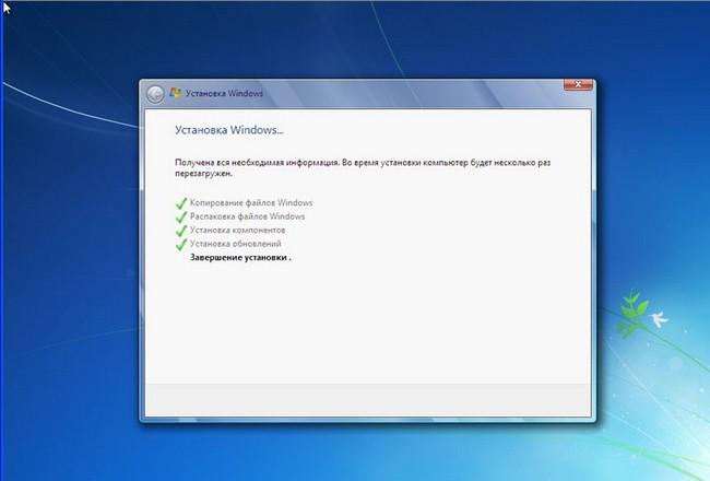 Продолжение установки Windows 7